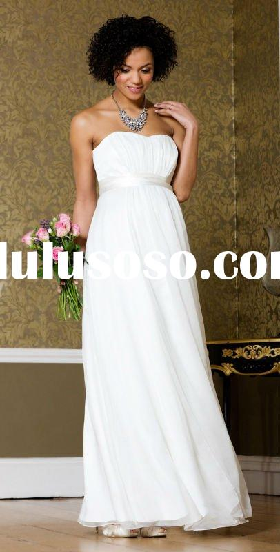 2011 Perfect White Strapless Empire Waist Maternity Empire Strapless Sash Chiffon Maternity Bridal G