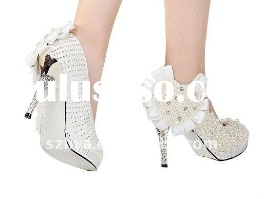 2011 beautiful rhinestones pearls bridal wedding shoes evening shoes party shoes XZ021