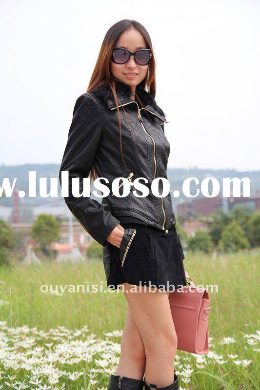 2011 newest women clothes,ladies leather clothing,womens leather jackets in black color