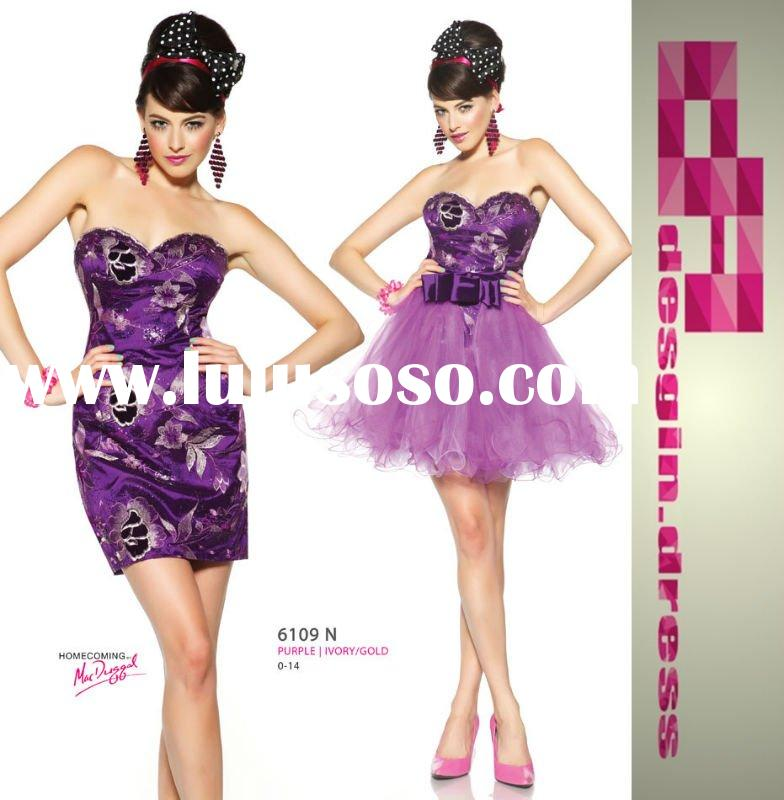 2011 short purple removable tulle skirt homecoming dress 6109N