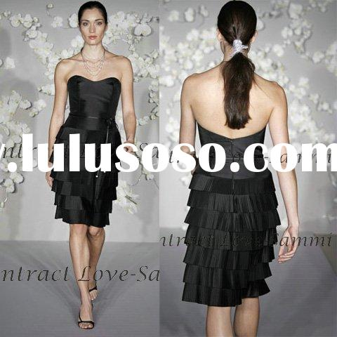 2011 sweetheart black short silk crinkle evening dress