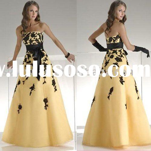 2011 yellow black lace long evening dress