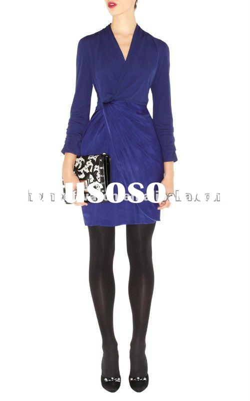 2012 Navy Blue V Neck Long Sleeve Dress with Draped Knot on Waist Lady Coat Casual Dress DN026