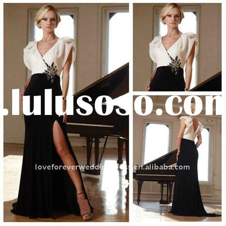 2012 Style Black and White Short Sleeves Evening Gowns
