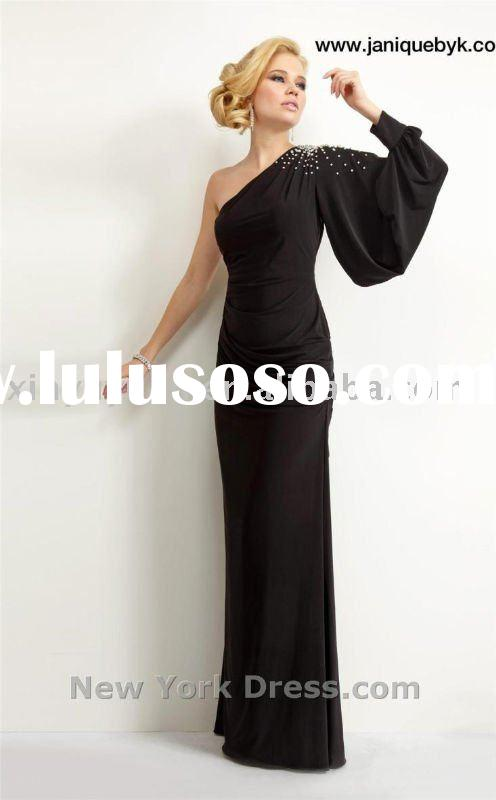 2012 Very Unique And Beauty Chic Wholesale Custom Long Sleeve Chiffon Long Evening Dress LAB-016