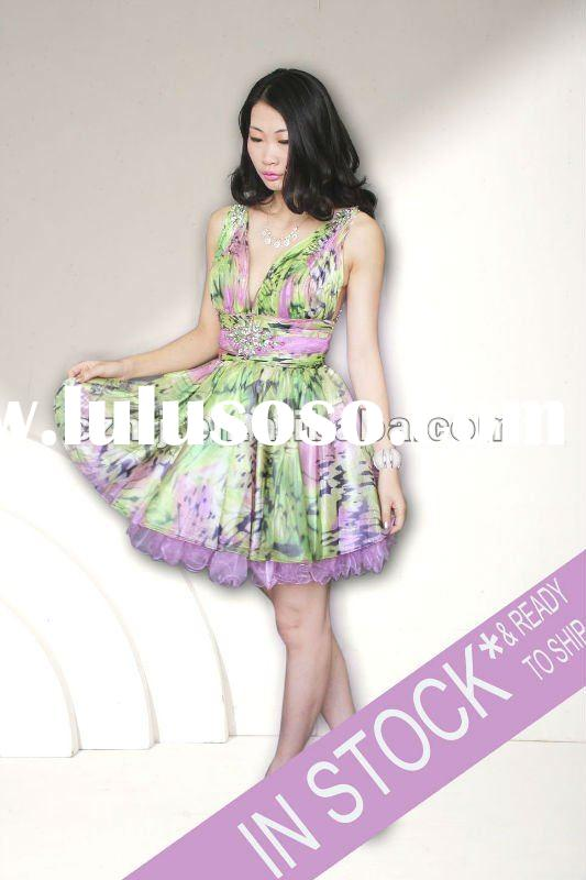 2012 hot sale beaded short evening dresses
