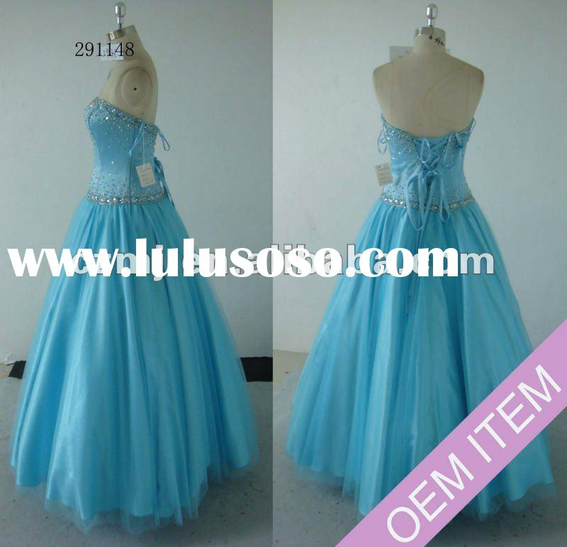 2012 new Elegant lace up back ball gown prom dress
