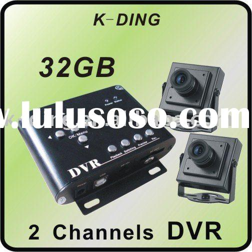2 channel Mini DVR with 2 pcs 120degree view angle sony ccd camera for car inside monitoring system