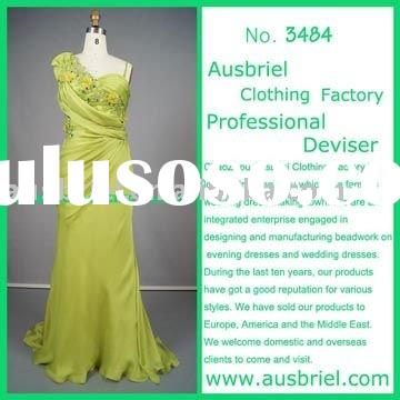3484 ladies beaded olivine BEADED FLOWER long evening dresses 2011