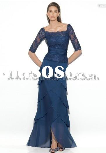 9343 Hollowing long sleeves lace in the upper body and one layer in the skirt lace evening gown