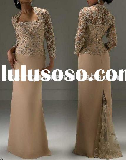 AM010 long sleeve lace embroidery wrap chiffon formal mother of the bride dress