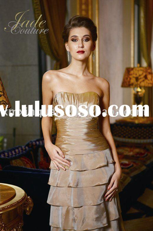 AM055 Strapless pleated bodice cascade long sleevle wrap formal mother of the bride dress