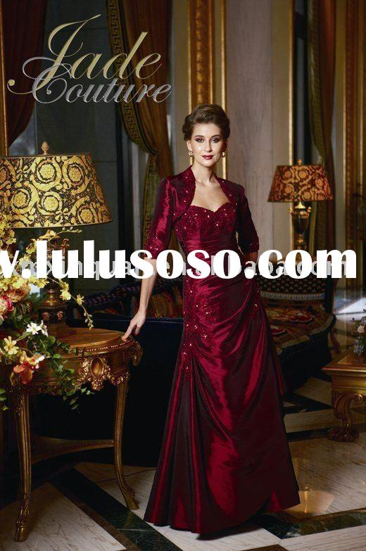 AM060 sweetheart with embroidered long sleeve wrap formal mother of the bride dress