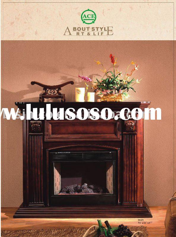 Antique wooden fireplace/mantel with electric insert,hand carved antique furnitures