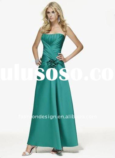 BL143 fashion design full length strapless corset back satin teal bridesmaid dresses