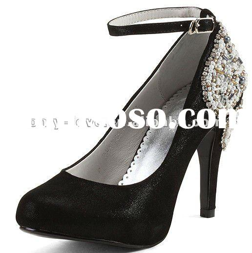 BS063 fashion 2012 black jeweled back high heel leather evening shoes party shoes