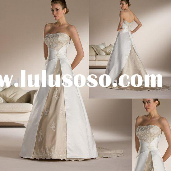 Best Selling A-line Appliqued Strapless Princess Wedding Gown EU069