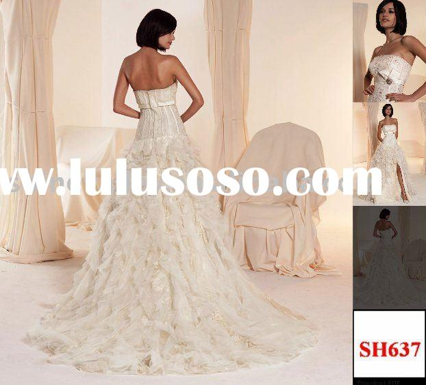 Charming Satin and Tulle Lace A-line Boned Bodice Bridal Wedding Dress,SH637