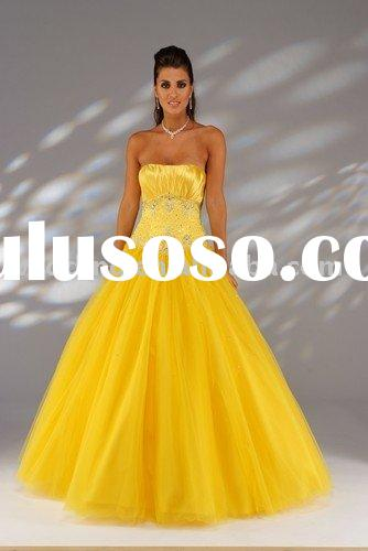 Charming Yellow Organza Beaded Princess Dress Evening Gown