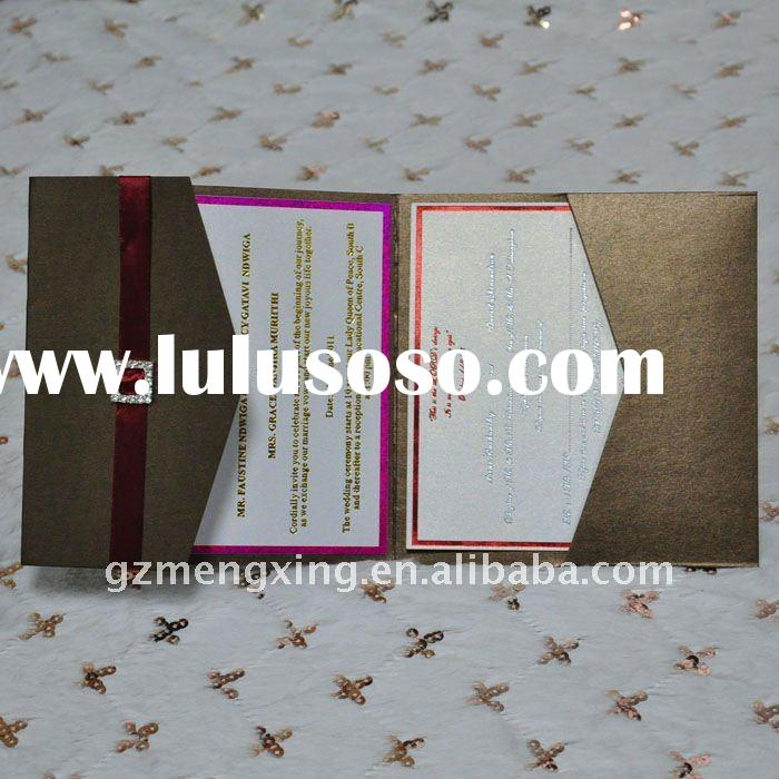 Classical Pocket Wedding Cards With RSVP Card,Thank You Card-------EA934