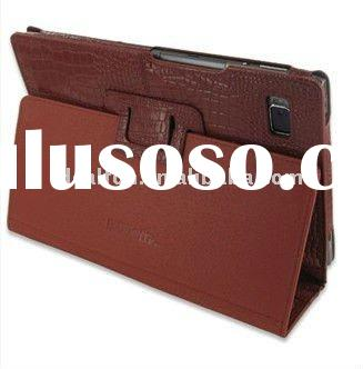 Croco brown Leather Case for Acer Iconia Tab A500 - Book Type (Black)