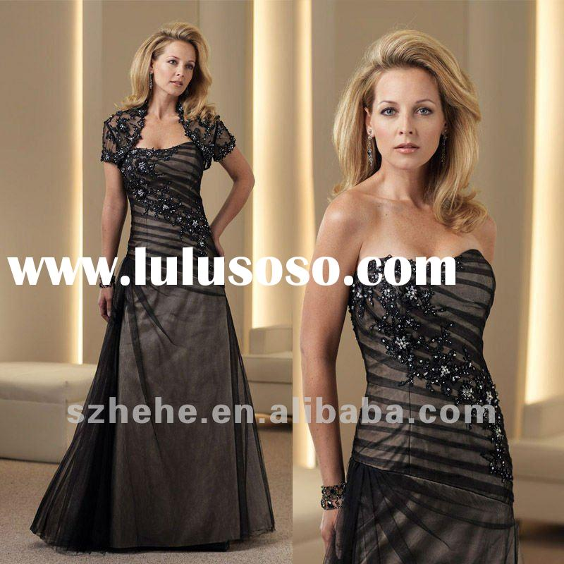 Elegant strapless shinning beaded short sleeve mother jacket evening dress
