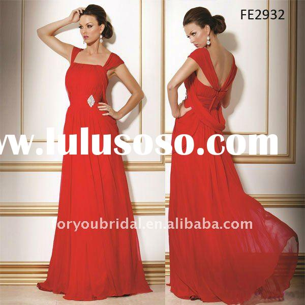 FE2932 2012 Red Cap Sleeve Chiffon Floor Length Elegant Evening Gown