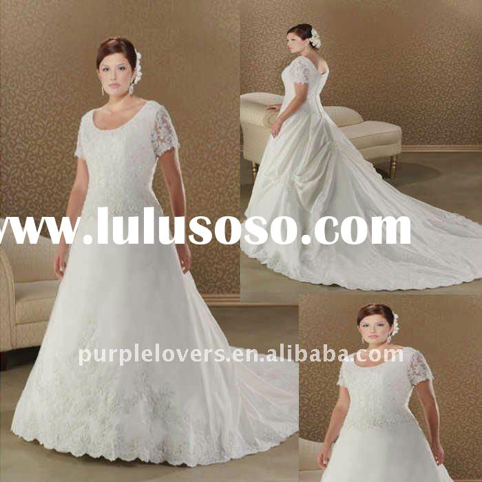 Formal plus size short sleeve embroidered A-line wedding gown