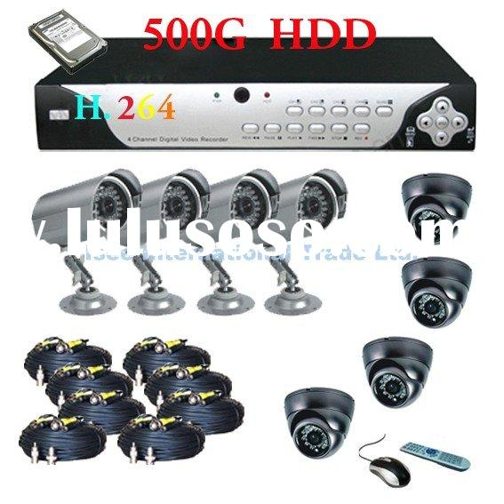 H.264 CCTV DVR 8 Security Cameras Recording System with 500G Hard Drive