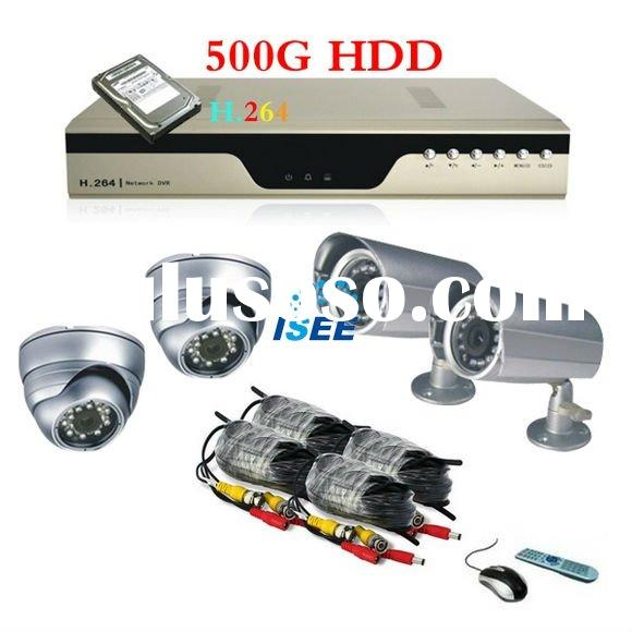 H.264 Economical 4 Channel CCTV Surveillance Security 500G DVR Camera System