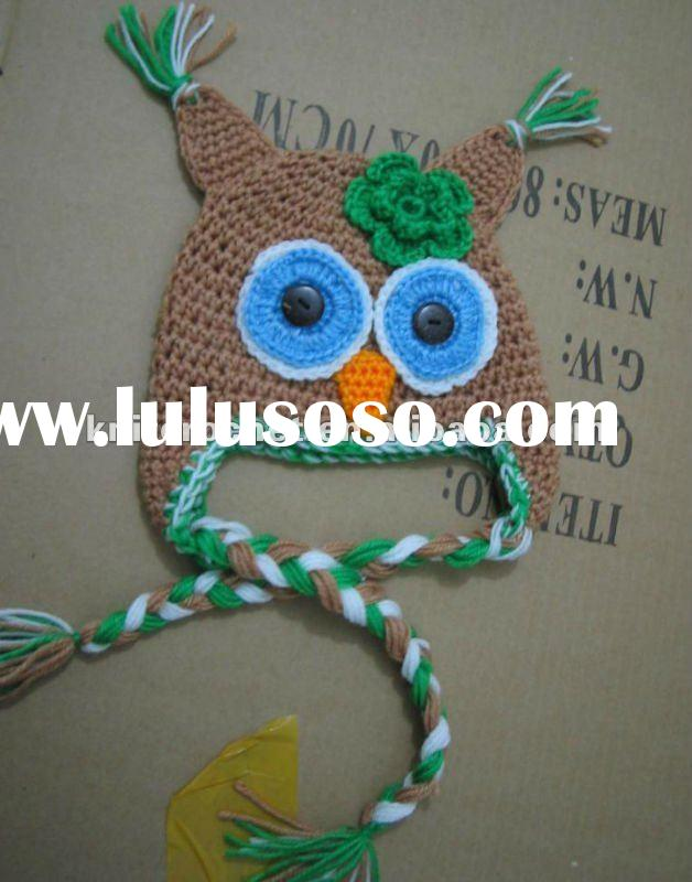 Hand made Knit Crocheted Owl Earflap Hat