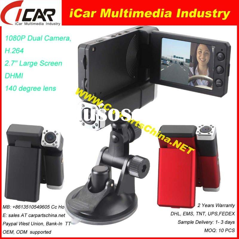 "Hot!!! HD Car Cam Mini DVR Dual Camera, 140degree HDMI H.264 & 2.7"" Screen DVR7000"
