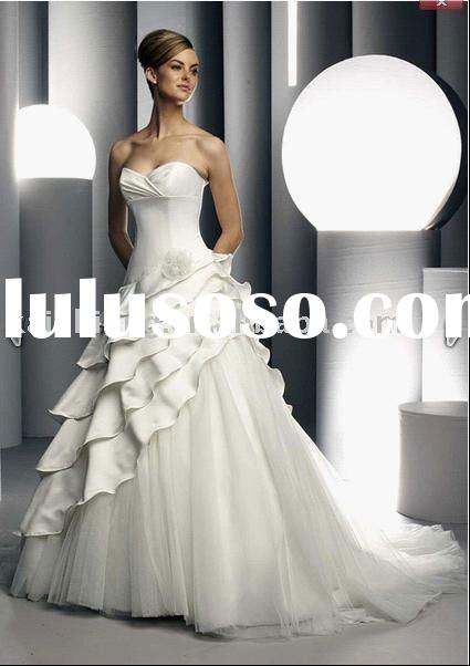 Hot sell satin strapless ball elegant wedding dress 2011