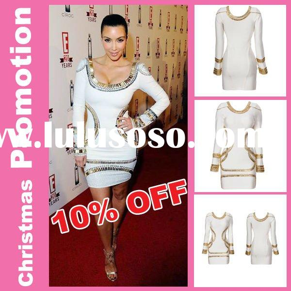 Hot selling evening Dress,White Round Neck Long Sleeve Kim Evening Dresses