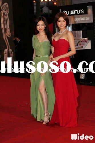 JHT064 free shipping one-shoulder pleated green chiffon red carpet dress with high slit