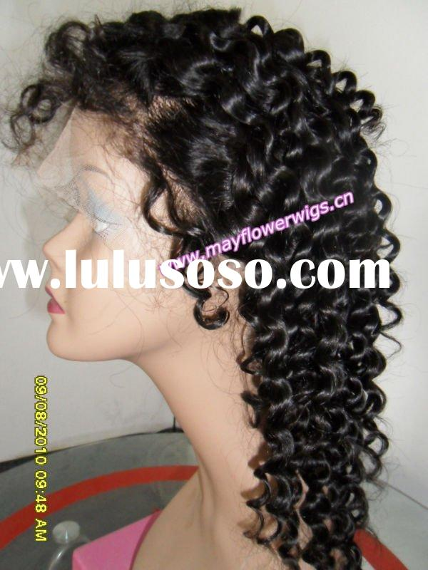 Kinky tight curl lace wigs curly hair for african americans 100% human hair