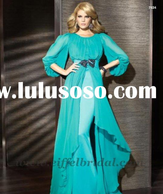 LD3595 Fashion design chiffon beaded long sleeve evening dress