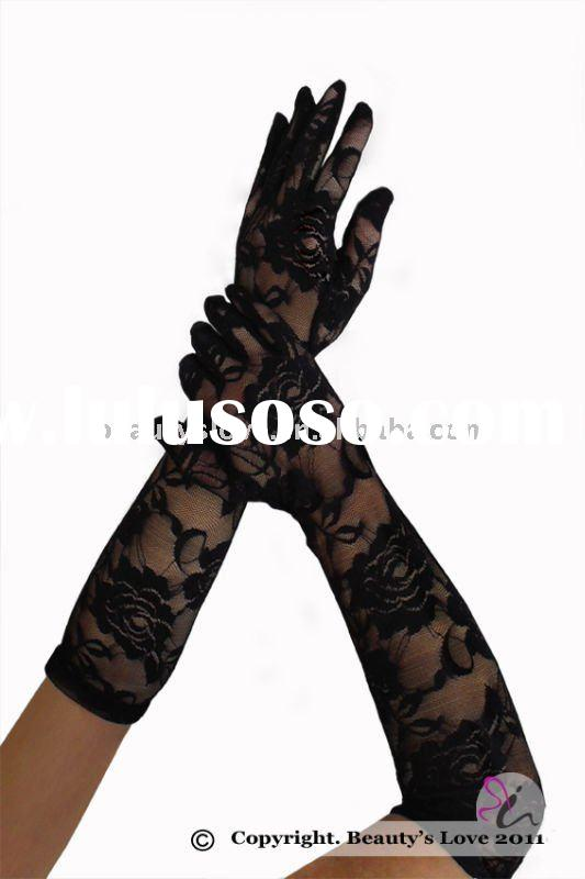 Long rose lace gloves