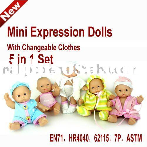 Mini Expression baby Dolls With Changeable Clothes 9 in 1 Set
