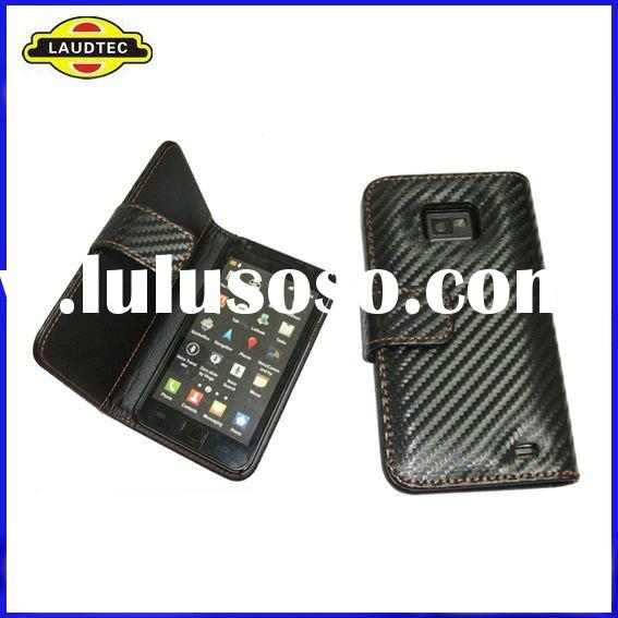 New Arrival Black Color Carbon Fiber Wallet Leather Case for Samsung i9100 Galaxy S2