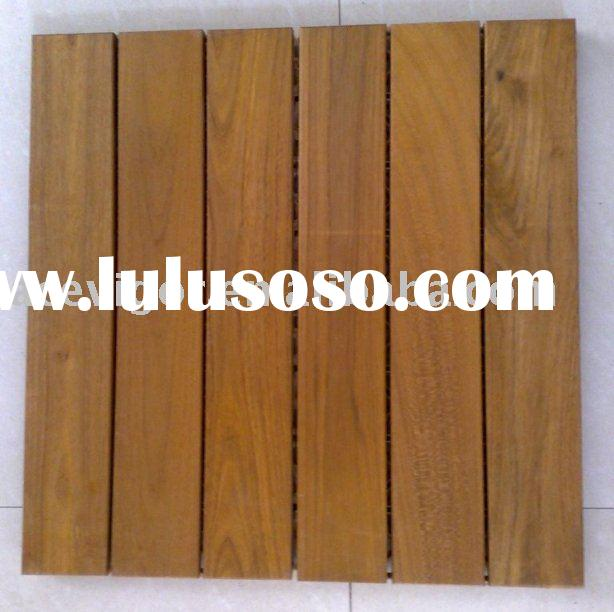 Outdoor solid Burma Teak wood floor tile for garden
