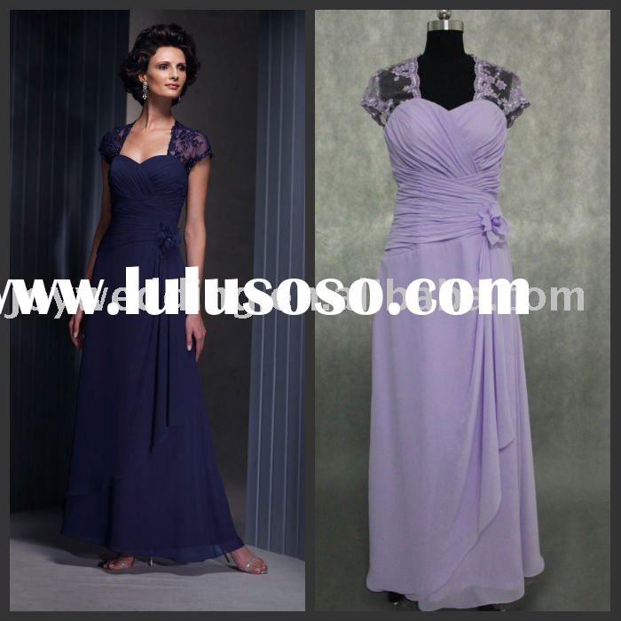 R0255 real sample cap sleeve mother of the bride dress