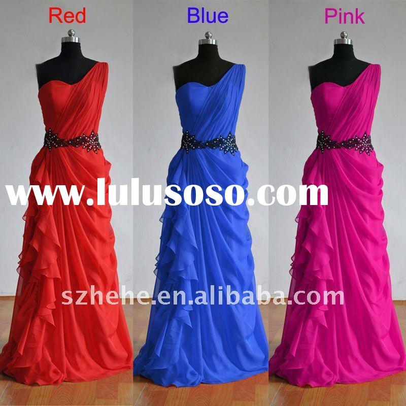 RE057 Real sample cheap one shoulder evening gown 2012 red/blue/pink