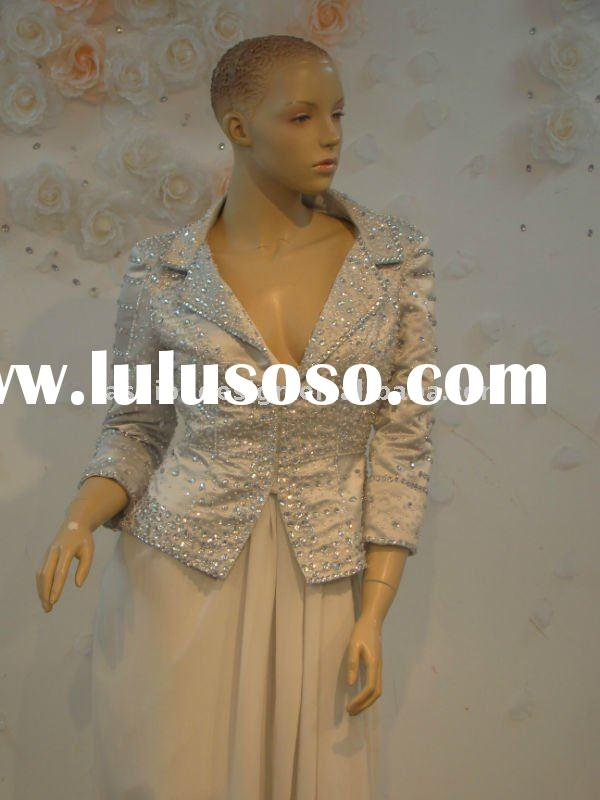 REAL332 2011 Gorgeous fully crystals long sleeves jacket with chiffon short skirt mother evening dre
