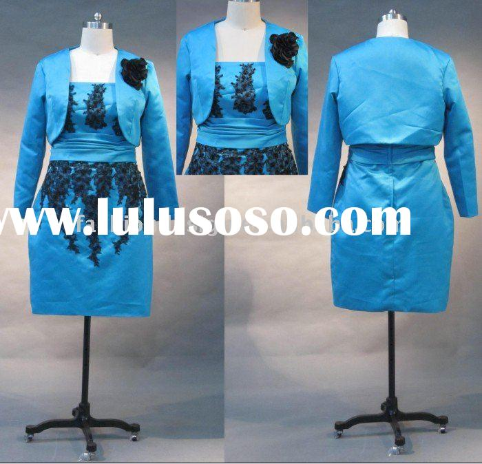 REAL334 2011 top one selling strapless blue satin with lace appliques mother of bride dress