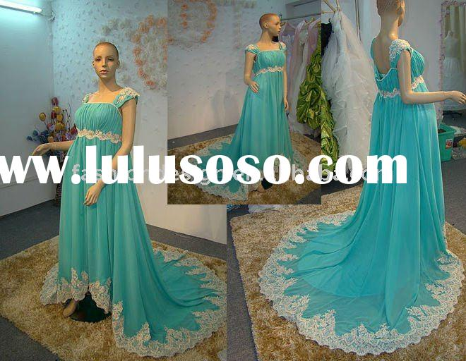 REAL385 2011 fashion chiffon with lace appliques maternity prom dress