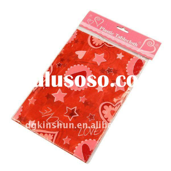 Rose red heart printed valentines day PVC Table cloth/Sheet/cover