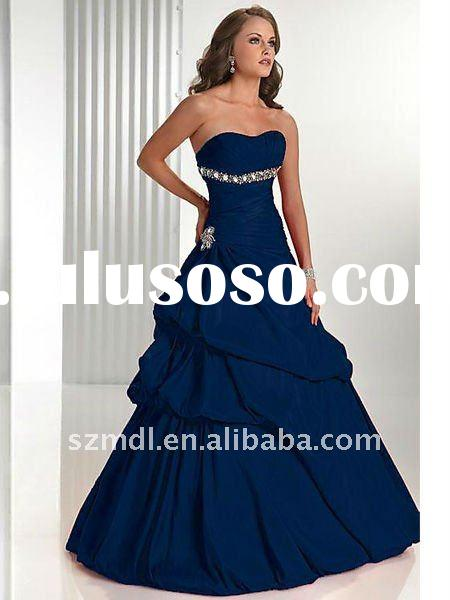 Royal Blue Strapless Tube Top Prom Dress 2011 Designer