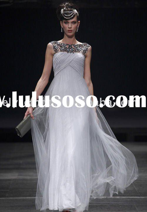 Sheath/ Column Bateau Floor-length Chiffon Quick Delivery Satin Tulle Evening Dress
