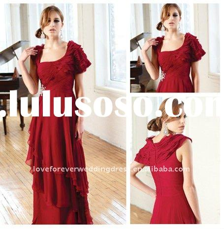 Short Sleeves Red Discount Evening Gowns High Quality